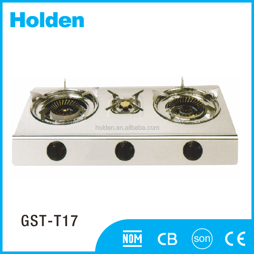 GST-T17 portable cooking gas stove cast iron 3 burner manufacturers china