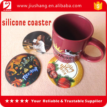 Full color printing drink beer silicone cup coaster set for promotion