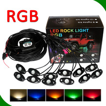 RGB LED ROCK LIGHT Kits with APP Bluetooth controller led pods for car truck boat RGB led rock light