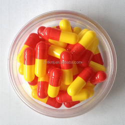 Size 0 Halal Gelatin Red and Yellow Empty Capsules