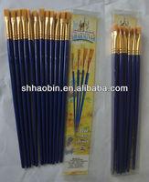 Golden Nylon Artist Paint Brush Set in 10PK