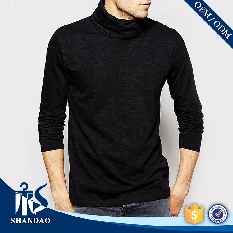 2016 guangzhou shandao autumn casual men black turtleneck 180g 100% cotton cheap plain long sleeve t shirt with thumb hole