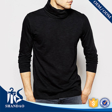 Shandao OEM Turtleneck 180g 100%Cotton Black Plain Dyed Long Sleeve T Shirt with Thumb Hole