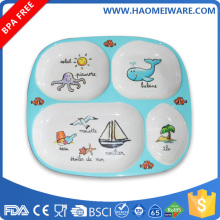 "10"" four compartments child melamine printed school canteen food serving tray"