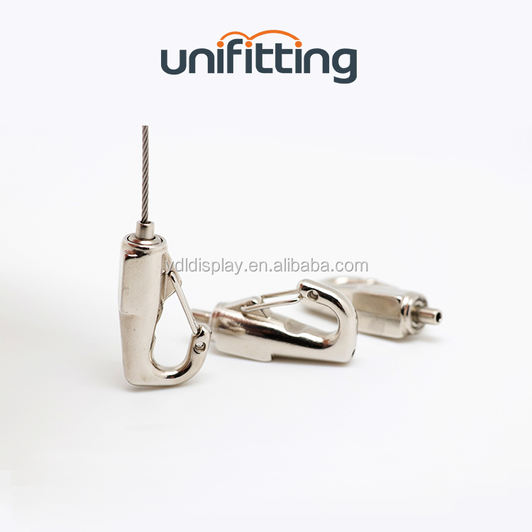 High Quality Zinc Alloy Spring Snap Hook with 1.5mm Cable HK-S-008