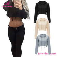 Private label long sleeve 100% cotton women gym fleece cropped top hoodie