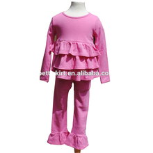kids triple ruffle top match pants girl outfits magenta pajama spring autumn winter clothing set