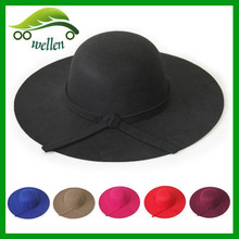 Fashion Vintage Multi-colors Lady blank wholesale Wide Brim wool felt floppy hat