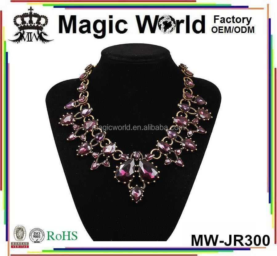 Latest Design Beads Purple Crystal Diamond Jewelry Gold Necklace For Women