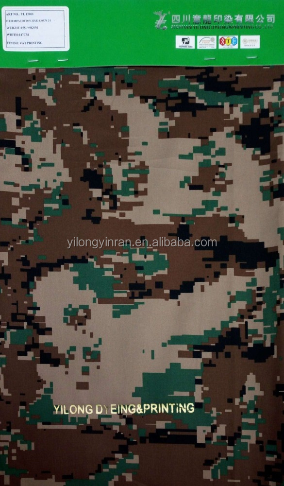 2/1 Twill 100% Cotton Fabric printed with digital camouflage