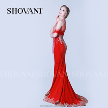 SHOVANI Red satin wedding dress bridal gown with 2016 charming sleeveless scoop neck hand work dress