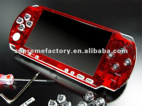 for PSP 3000 Bling Faceplate CRYSTAL RED + Seawalker Bag