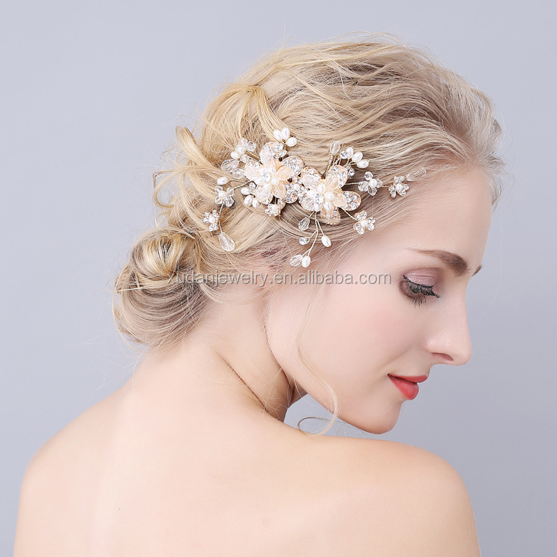 Handmade Vintage Pearl Antique Gold Wedding Comb Flower Leaf Crystal Bridal Decorative Hair Combs For Women Hair Accessories