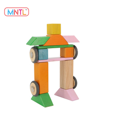 MNTL-28 Pcs Creative Kindergarten Wood Building Block 2017 Educational Toys Strong Magnet Connecting Blocks DIY 3D Toys