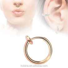10 mm Wide Gold Plated Septum Clicker Fake Septum Ring Nose Ring Body Piercing Jewelry 16g Septum Rings