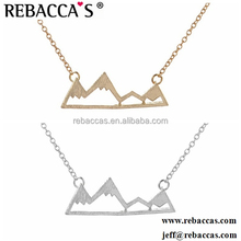 Simple Dainty Fine Jewellery Fashion Gold Silver Cool Mountain Top Charm Necklace