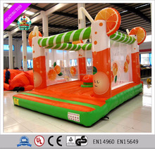 2016 Attractive orange inflatable castle , mini jumper bouncer, small jumping castle for kids