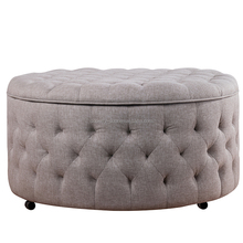 Soft Fabric living room furniture round storage tufting ottoman