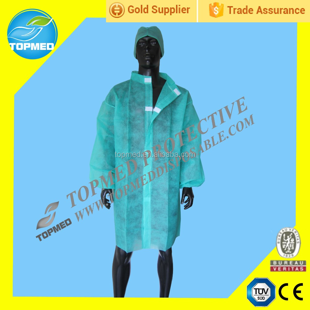 latex free disposable lab coat, medical hospital gown, nonwoven visit coats
