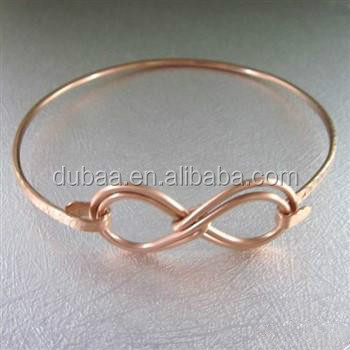 Women Fashion Jewelry Double Infinity Symbol Hammered Copper Bangle Bracelet Gift 2017