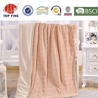 top fine two layer jacquard flannel and plain velour blanket from factory china