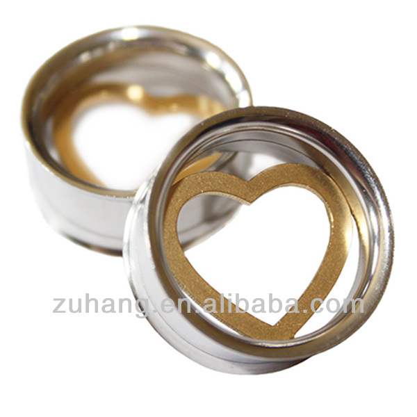 Ear Tunnel Piercing Jewelry 316L Stainless Steel Gold Plated Heart Screw Fit Flesh Tunnel
