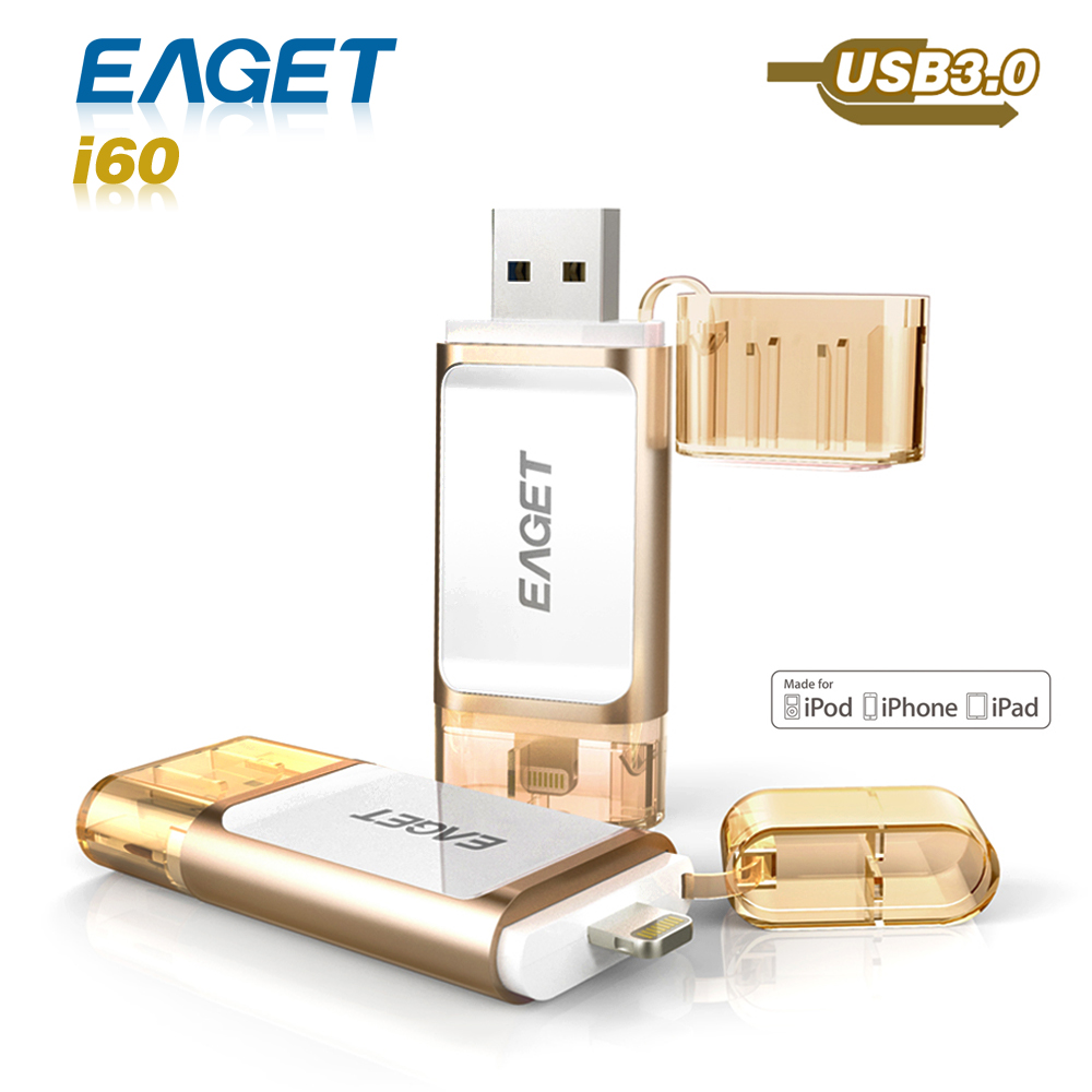 32GB 64GB 128GB Eaget i60 Pen Drive 3.0 USB 3.0 MFI USB Flash Drive for iphone Pendrive for ipad External Storage USB Stick