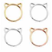 2016 fashion design simple kitty cat silver gold forged ring plated animal jewellery turkish jewellery rings desig