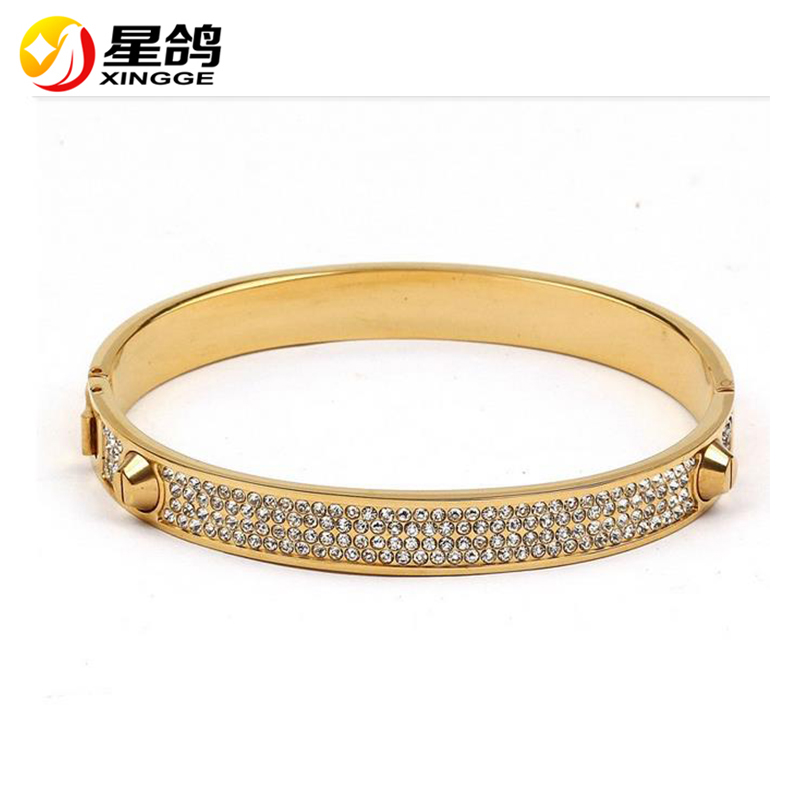 Girl Crystal Silver Gold Stainless Steel Bangles Bracelet For Women Jewelry Cuff Christmas gift brazalete pulseras joyeria mujer