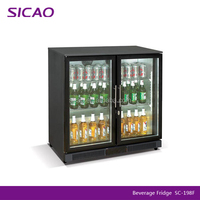 under counter glass door mini bar fridge