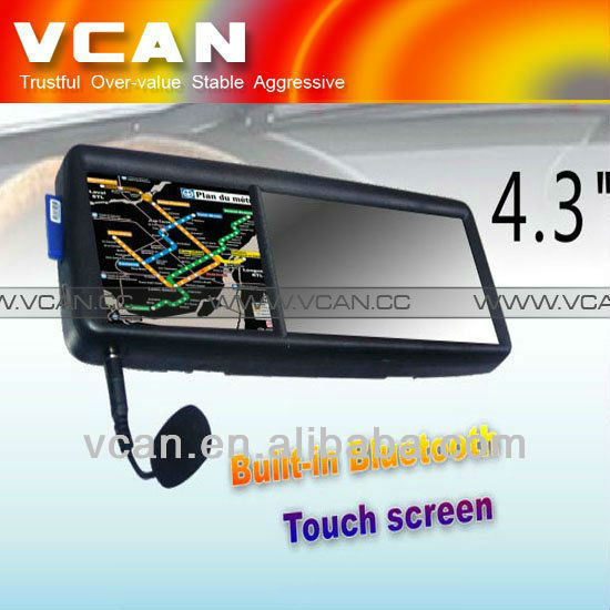 GPS 4.3 rear view touch monitor mirror screen GPS navigation bluetooth game Win ce 5 gps gsm module