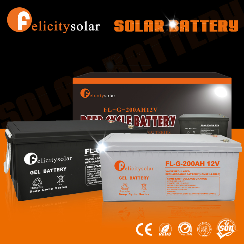 Hot Sale Felicity Solar deep cycle GEL battery 12v 200ah with ISO CE ROHS Certification