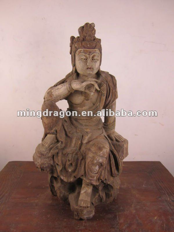 Chinese antique wooden carved buddha
