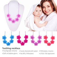 BPA free silicone teething bead necklace baby teething