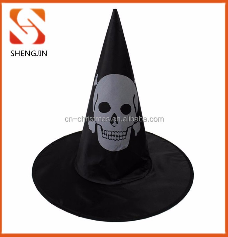 New black Skull print halloween witch hats /witch costume