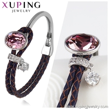 51597- xuping hand made high quality fashion simple latest designs adjustable lady bangles made with crystals from Swarovski