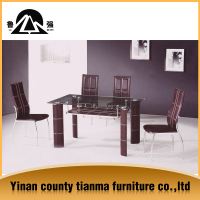 nice tempered glass Good qulity new model fancy design powder coated steel legs and square shape tempered glass dining table