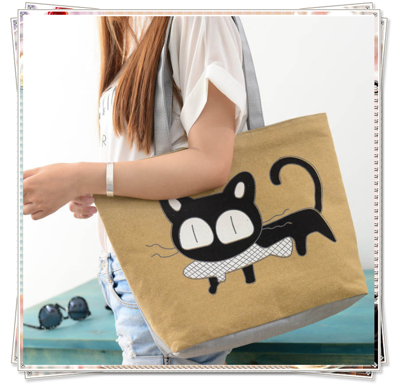 Cheap Lady strong Shoulder Bag Cartoon Canvas Messenger Shopping Bags,canvas shoulder bag