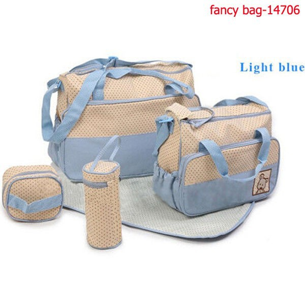 5pcs Multi Function Baby Changing Pad Nappy Diaper Bag 2015