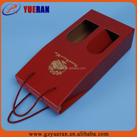 Custom high quality 2 bottles corrugated cardboard wine carton boxes with handles