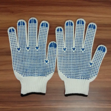 HOT ! High quality cheap knitted hand gloves dot white cotton safety glove PVC dotted cotton safety working gloves manufacturer