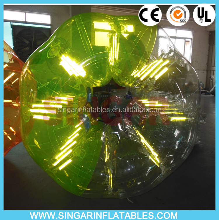 2016 New Design Body Football TPU Human Glowing bubble <strong>ball</strong> for sale rent