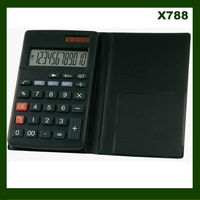 12 digit PVC leather solar and battery power calculator for promotional gifts