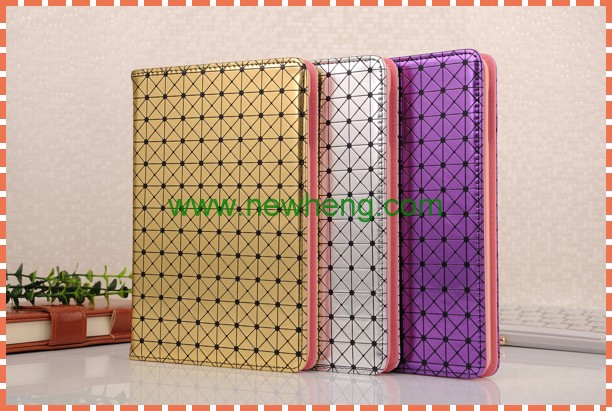 Wholesale Grid Pattern Leather Flip Tablet Cover Case for iPad Mini4