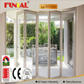 High quality standard size champagne color aluminum bifolding doors for nepal market