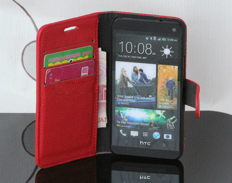 Card slots flip cover for htc one m7 money slots portfolio style flip case
