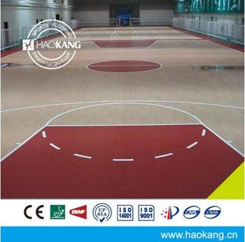 Indoor PVC Sports Basketball Court Vinyl Flooring Maple Pattern 4.5 mm Thick
