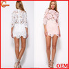 Latest cut out lace new fashion ladies dress/white long sleeve fashion dresses