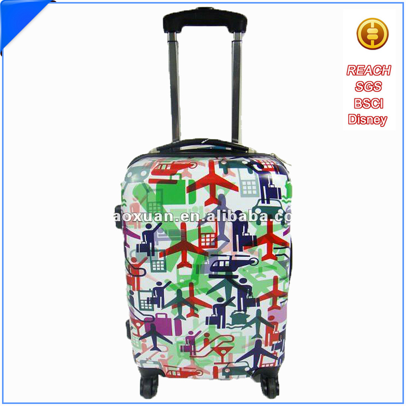 Custom print suitcase trolley luggage suitcase trolley parts with trolley