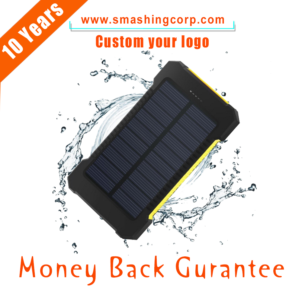 CM032 Solar Charger, Portable Backup Power bank External Solar Power Bank 10000mAh with Dual USB Battery Charger